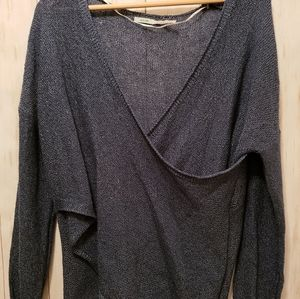 Kimchi Blue M Teal Sheer Ballet Wrap Tunic Sweater